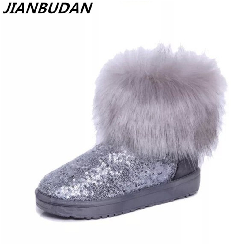 JIANBUDAN Fashion Women 's Fur Boots 2017 new fashion sequins imitation fox fur snow boots winter  cotton shoes Size 36-40 new fashion winter snow boots women imitation fox fur snow boots mid calf winter shoes boots for women australia botas bls 056