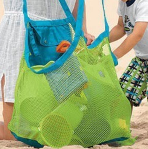 Foldable Portable Beach Bag Kids Children Mesh Storage Toy Baskets