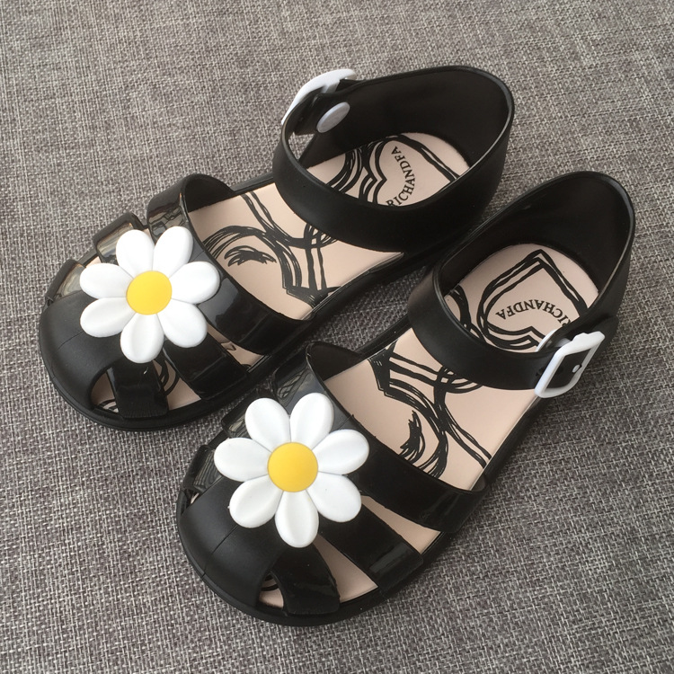 14.5 17cm Kids Jelly Sandals With Flowers Baby Girl ...