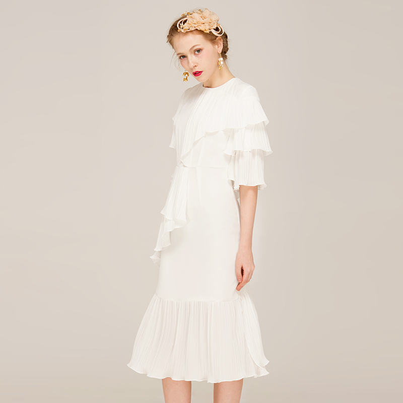 YIGELILA Women Summer White Ruffles Dress Fashion Solid O-neck Flare - Women's Clothing - Photo 2