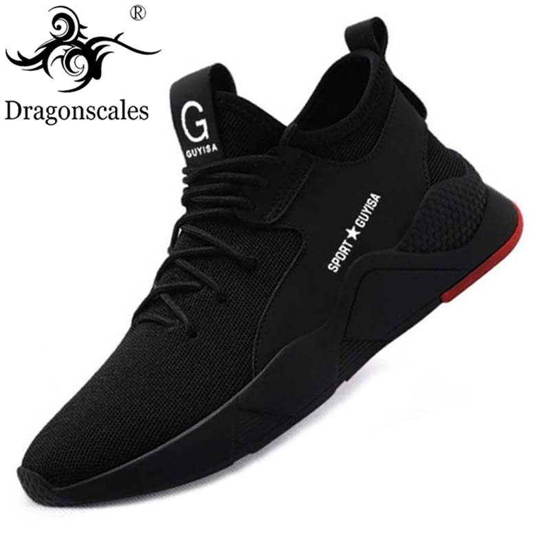 Men's Work Safety Shoes Steel Toe Cap Fashion Breathable Sports Shoes Breathable Lightweight Summer Men's Sports Shoes