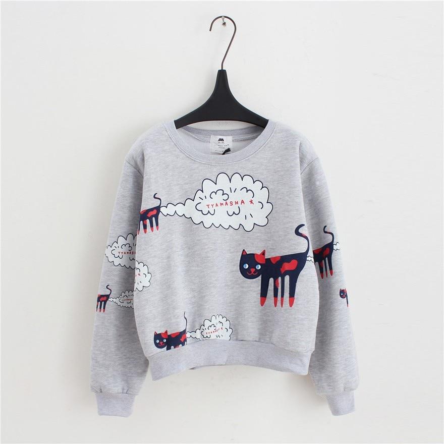 17 New Spring Autumn Sweatshirt Women Tops Plus Size Loose Casual Plus Thick Velvet Cartoon Cat Pattern Sweatshirts Pullovers 6