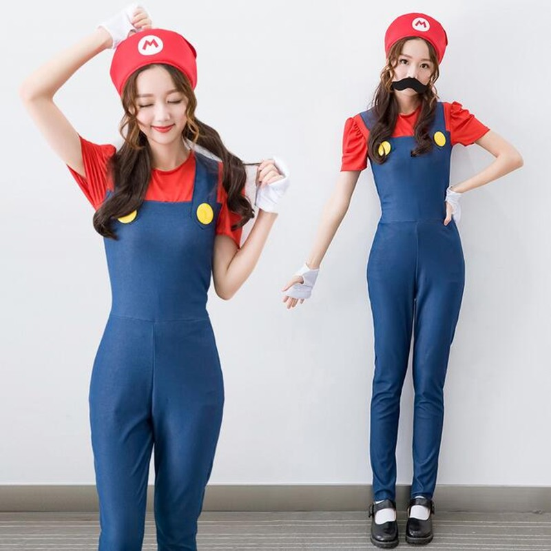 ef04e144f348 Lady Christmas Costumes Women Super Mary Plumper Make Up Party Jumpsuit+top+cap+gloves+  Moustache Performance Halloween Cosplay