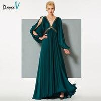 DressV Синий Зеленый Длинные вечернее платье с v образным вырезом линии с длинными рукавами спинки Свадебная вечеринка торжественное платье п