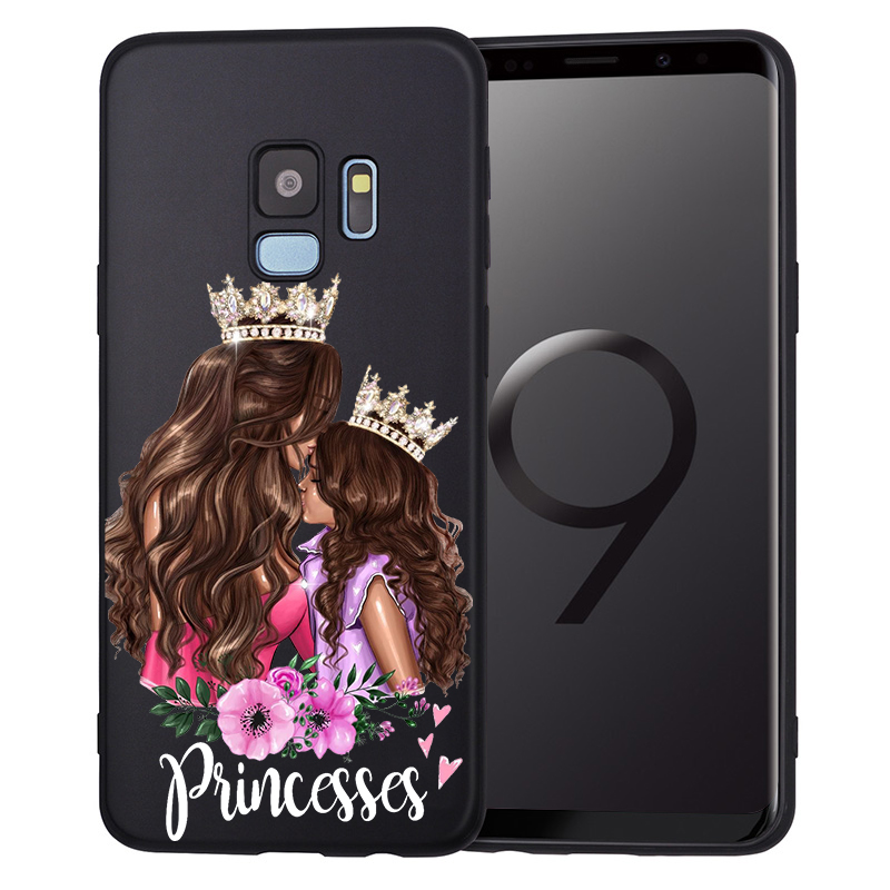 Black Brown Hair Baby Mom Girl Princess Phone Etui For Samsung Galaxy s8 case S6 S7 S9 S10Lite J3 J5 J7 2017 J4 J6 J8 Plus Coque in Fitted Cases from Cellphones Telecommunications
