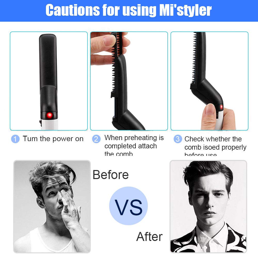 men Beard Hair Straightener Brush (7)