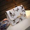 Floral de las mujeres de cuero Bolso de La Taleguilla Del Bolso de Hombro Retro Messenger Bag Famoso Diseñador Bolsos de Hombro Bolsa de Embrague Bolso Negro Blanco