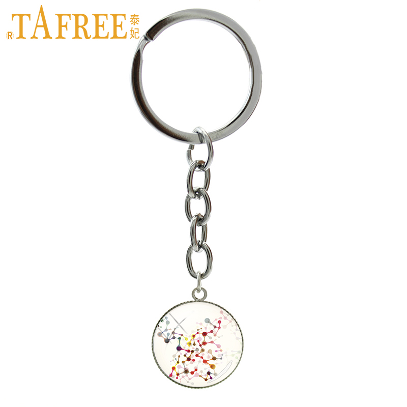 TAFREE DNA molecule conceptual Key Chain round Glass the genetic information of the organism Keychain fashion jewelry CT737