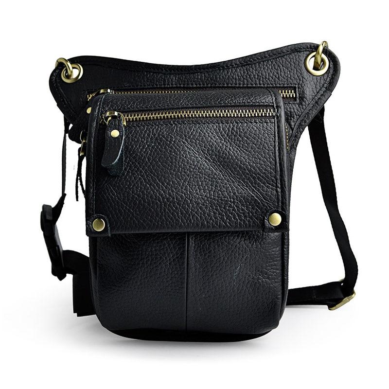 2017 nouveau en cuir véritable hommes Vintage taille sacs marron noir petite ceinture sac taille Pack Drop Leg sac