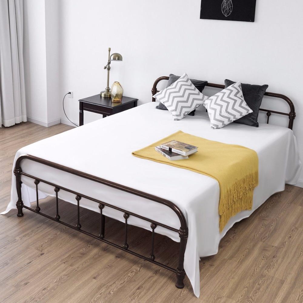Giantex Queen Size Metal Steel Bed Frame With Stable Slats Headboard Footboard Black