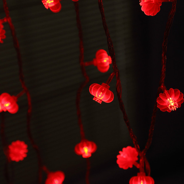 Yiyang Aa Battery Ed 50 Pcs Red Chinese Lanterns String Lights For New Year Spring Festival