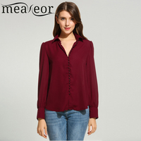 Meaneor Women Casual Long Sleeve Button Down Collar Solid Loose Basic Shirt 2018 Spring New Single