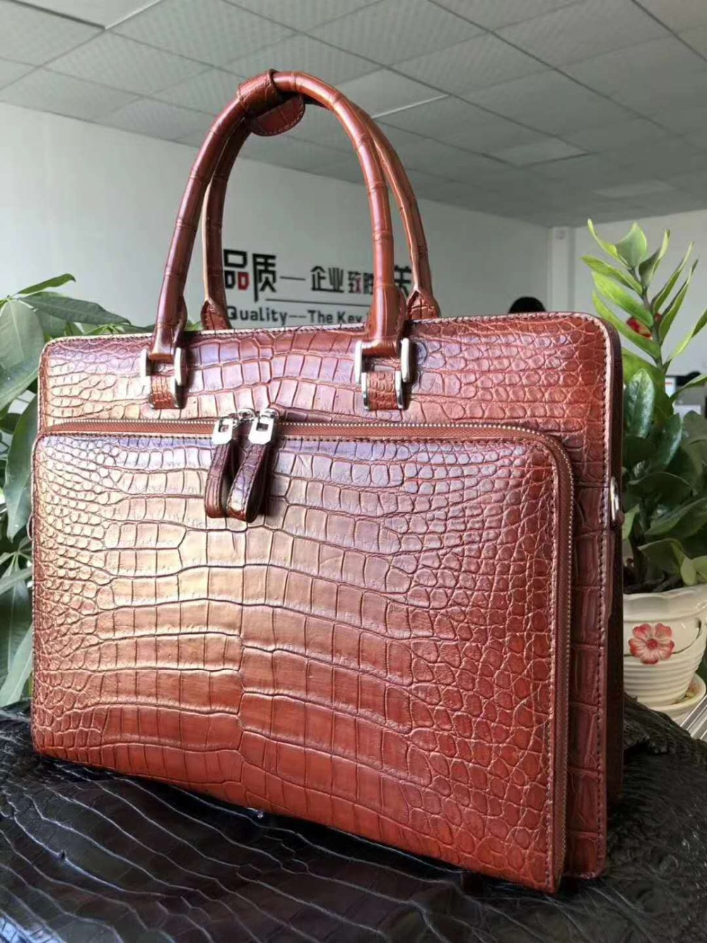 Business Briefcase Skin-Belly-Leather Crocodile Laptop-Bag Black-Color Luxury Genuine