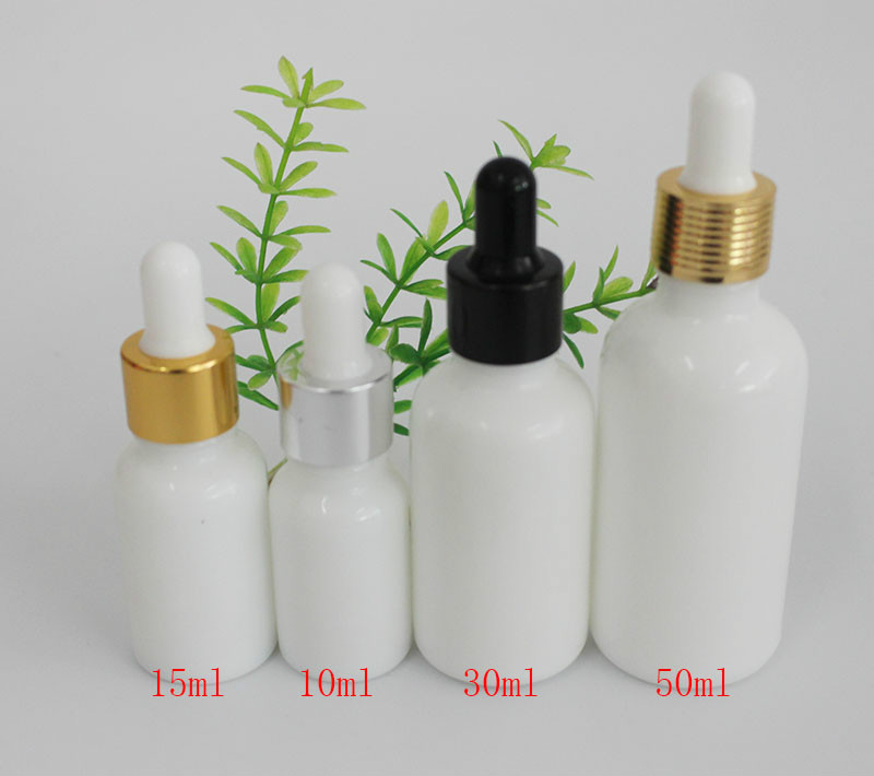 50pcs 10ml 15ml 20ml 30ml 50ml Porcelain White Glass Bottle Essential Oil Bottle Hyaluronic Acid Essence Drop Tube Empty Bottle