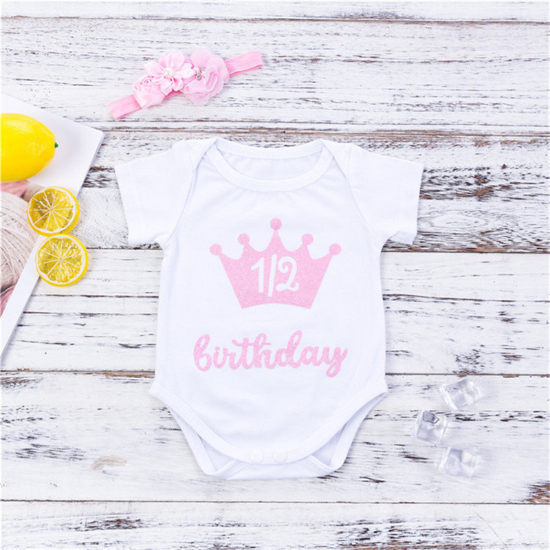 Zcaynger Newborn Baby Girls Short Sleeve Cotton Jumpsuit Clothes First Birthday Clothes Baby Girl Toddler Clothes