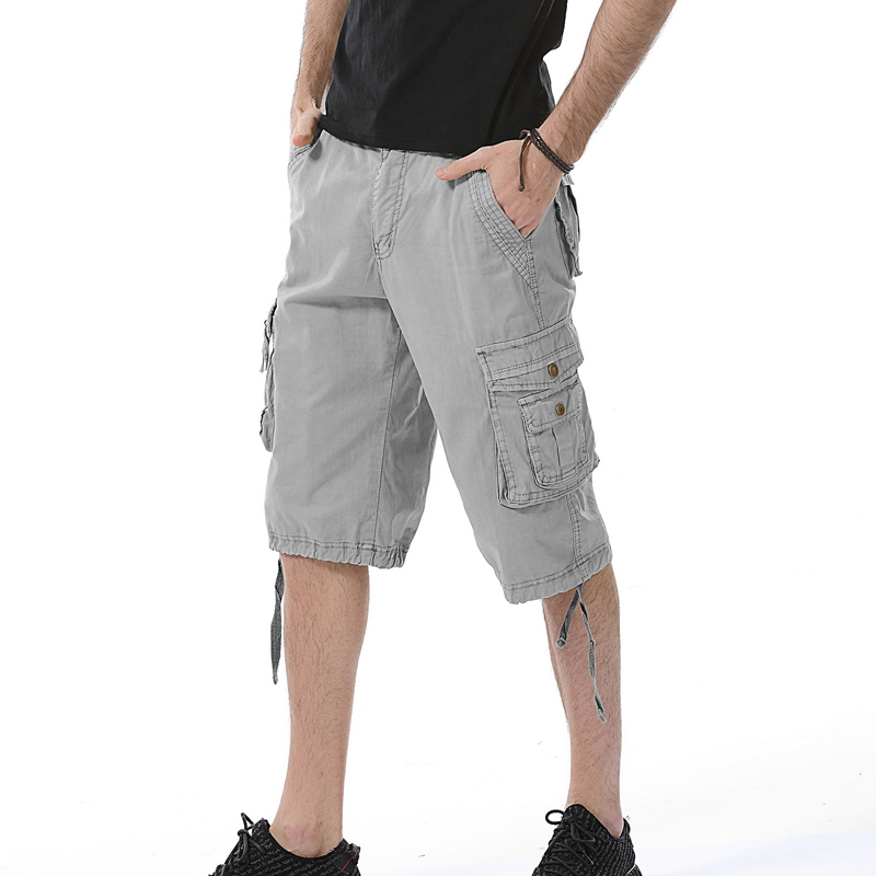 Summer Men Casual Shorts 2017 Loose Multi Pockets Cargo Shorts Solid Plus Size Knee Length Army Short Men Clothing 100% Cotton