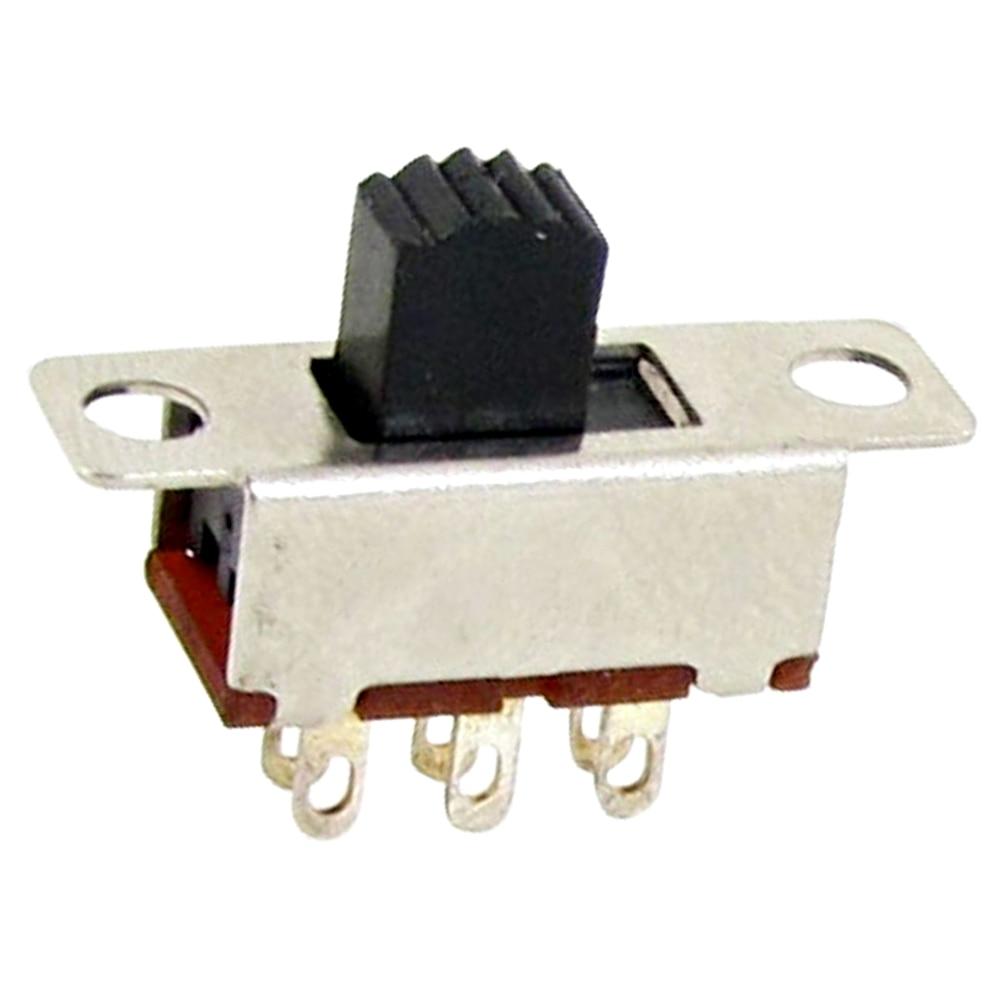 High Quality 10 Pcs 2 Position DPDT 2P2T Panel Mount Vertical Slide Switch 6 Pin 0.5A 50V DC fender jaguar jazzmaster slide switch dpdt black