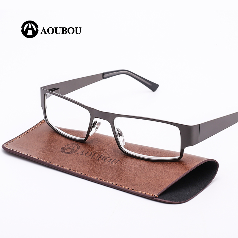51c3691a2b AOUBOU Brand Retro Reading Glasses Men 2.0 2.5 Anti-fatigue Stainless Steel  Spring Hinges Frame