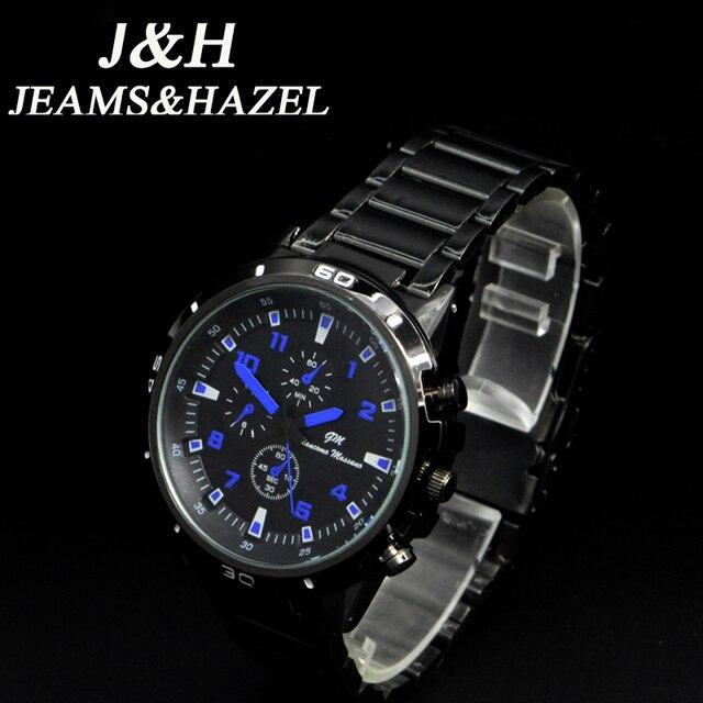 JEAMS y AVELLANA Hombres Relojes de Lujo del Cuarzo del deporte 30 M impermeable relojes hombres de acero inoxidable auto fecha de pulsera relojes