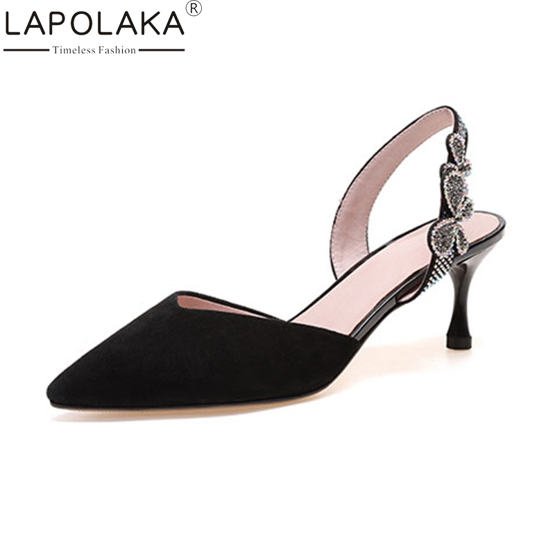 LAPOLAKA 2018 Kid Suede Genuine Leather Summer Black Crytal Sandals Shoes Women Thin High Heels Pointed Toe Woman Shoes lapolaka cow genuine leather mix color spring summer pointed toe women shoes pumps thin high heels shoes woman