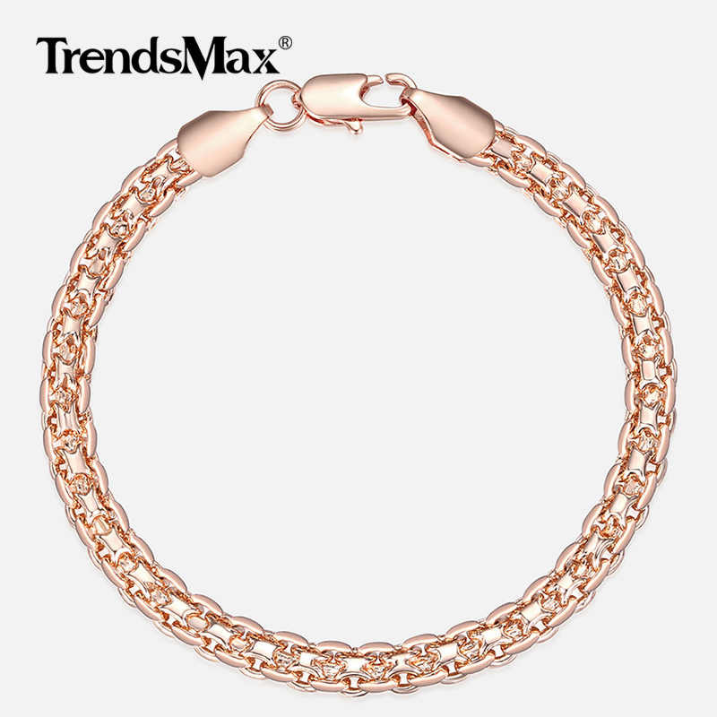 46c7c9a4e 5mm Bracelet for Women Girls 585 Rose Gold Bismark Link Chain Bracelet  Woman Jewelry Hot Party