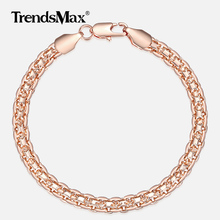5mm Bracelet for Women Girls 585 Rose Gold Bismark Link Chain Bracelet Woman Jewelry Hot Party Jewelry Gifts 18cm 20cm GB422