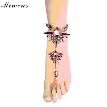 Miwens красочные акриловые горный хрусталь ног ювелирные изделия сексуальная ног цепь сандалии горячий продавать браслеты ювелирные изделия летом 7835
