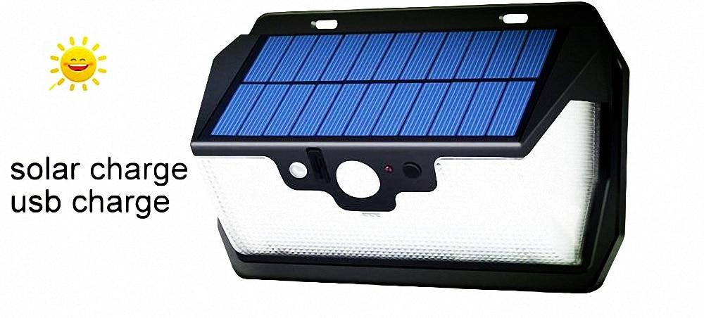 55 LED 900lm Solar Light Remote Control Radar Smart  Solar Lamps Adjustable Bright  Cam Street Wall Lamp Yard Camp Garage Patio