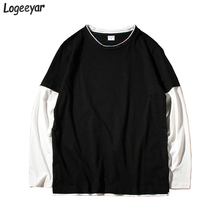 708971234 Logeeyar 2017 New High Quality 100% Cotton Men's T-shirts O-Neck Long