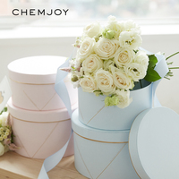 Set of 2 Flower Boxes with Lid Florist Hug Buckets Rose Bouquet Gift Packaging Cardboard Box Anniversary Wedding DIY Decoration