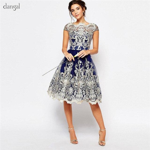 Dangal חתונת אורח שמלת Eveving מסיבת פרח ילדה קצר תחרה Midi שמלה עם רקמת נצנצים