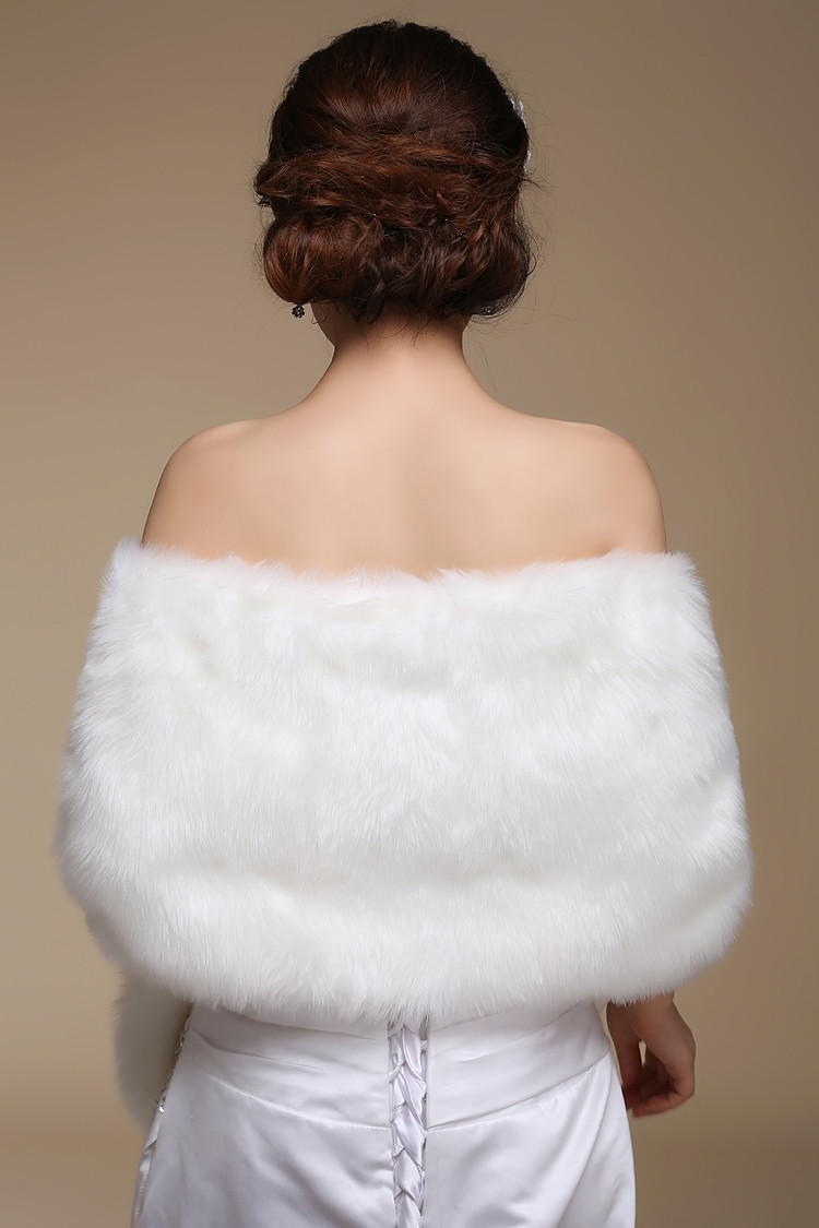 Beige Weiß Lange Faux Fur Wrap Shrug Bolero Mantel Braut Schal Jacke ...