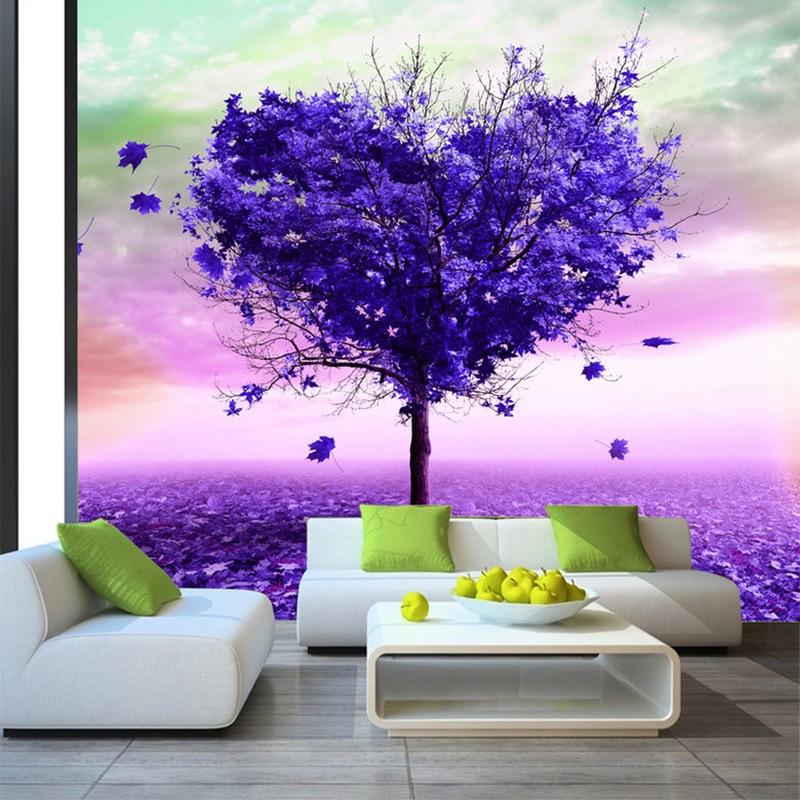 3D Wallpaper Modern Abstract Art Purple Tree Photo Mural Living Room Bedroom Interior Decor Nature Wallpaper Papel De Parede 3D customize wallpaper papel de parede star dimensional abstract painting abstract tree pachira 3d wallpaper free shipping4542