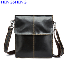 Hengsheng 8821 genuine leather men messenger bag with high quality cow leather men shoulder bag of cover male shoulder bags