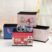 Hello Kitty Cartoon Mini Desktop Fabric Folding Storage Box, Cosmetic Finishing Box, Small Object Box