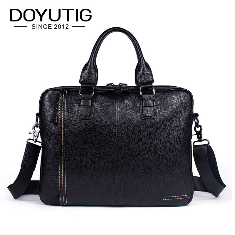 DOYUTIG Trendy Men's Black Genuine Leather Business Briefcases 14 Inches Laptop Messenger Bag Male Cow Leather Computer Bag G123