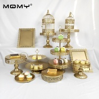 12Pcs Wedding Set Tray Metal Crystal 3 Tier Wholesale Fruit Birdcage Gold Cake Stand