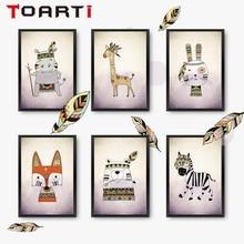 American Indian Tribal Animals Giraffe Fog Zebra Nursery Art Printing Wall Canvas Pictures For Baby Shower Kids Playroom Decorti