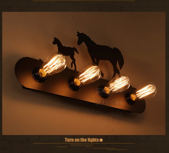 Modern home Loft American Style Bedroom Wall Personalized horse Lamp Vintage Cafe Bar Decoration Light free shipping modern american personality lamp spider extendable light pendant scalable lamp home office bar decoration light lamp