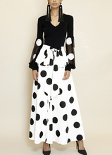 See Orange White Black Women Two Piece Outfits Summer 2018 Lady Two Piece Suit Sexy V neck Blouse Dot Skirt Set SO1131