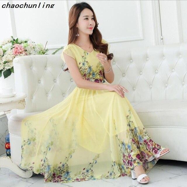 7e19fe2e46 Lady Korean Fashion Sleeveless Long Dresses Bohemian Large Pendulum Type Women  Chiffon Silk Dress V Collar Printing Dress 2018