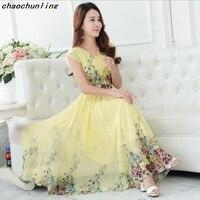 Lady Korean Fashion Sleeveless Long Dresses Bohemian Large Pendulum Type Women Chiffon Silk Dress V Collar Printing Dress 2018