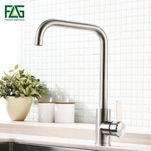 FLG Kitchen Faucets Hot Cold Water Mixer Pure Tap 304 Stainless Steel 360 Swivel