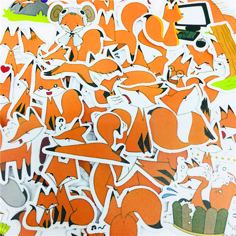 38 PCS Cartoon Cute Yellow Little Fox Stickers Crafts And Scrapbooking Stickers Book Student Label Decorative Sticker Kids Toys