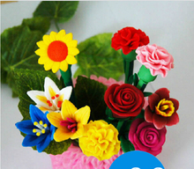 5pcs/lot Free shipping wholesale flower stationery pen  rose creative soft clay ball