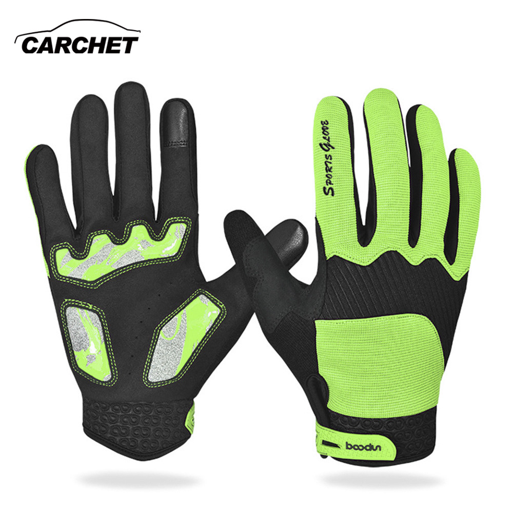 CARCHET Motorcycle Gloves Touch Screen Gloves Bicycle Motorbike Full Finger Gloves Cycling Outdoor Sports Blue Green Size M,L,XL