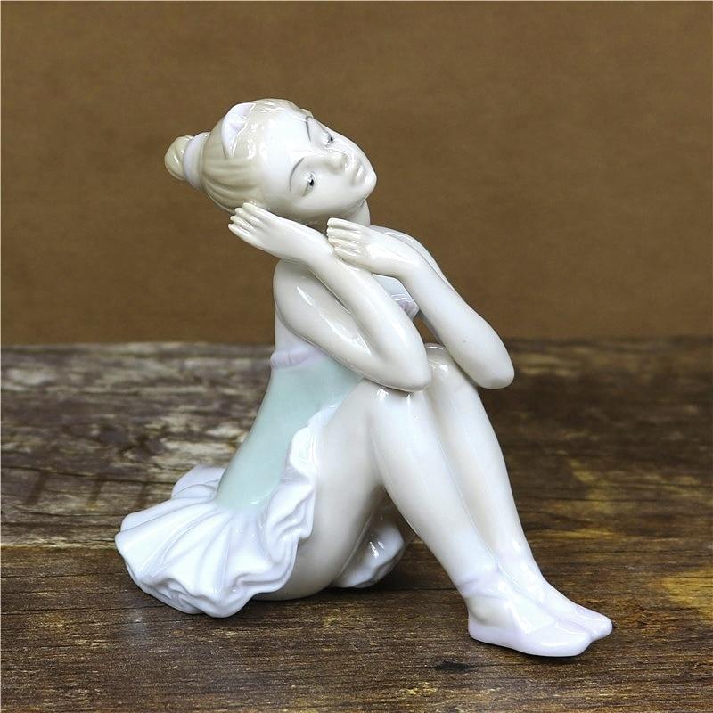 Porcelain Girl Ballerina Statuette Ceramic Belle Ballet Dancer Figure Craft Ornament Room Decor Valentine s Day