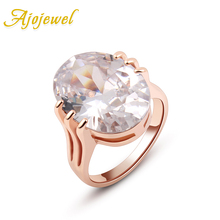 Ajojewel Big Oval Stone Orange / White Cubic Zirconia Ring Women Luxury Wedding Jewelry Engagement Ring 2017