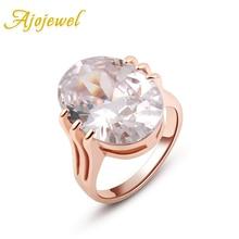Ajojewel Big Oval Stone Orange / White Cubic Zirconia Ring Women Luxury Wedding Jewelry Engagement Ring 2017 oval stone ring