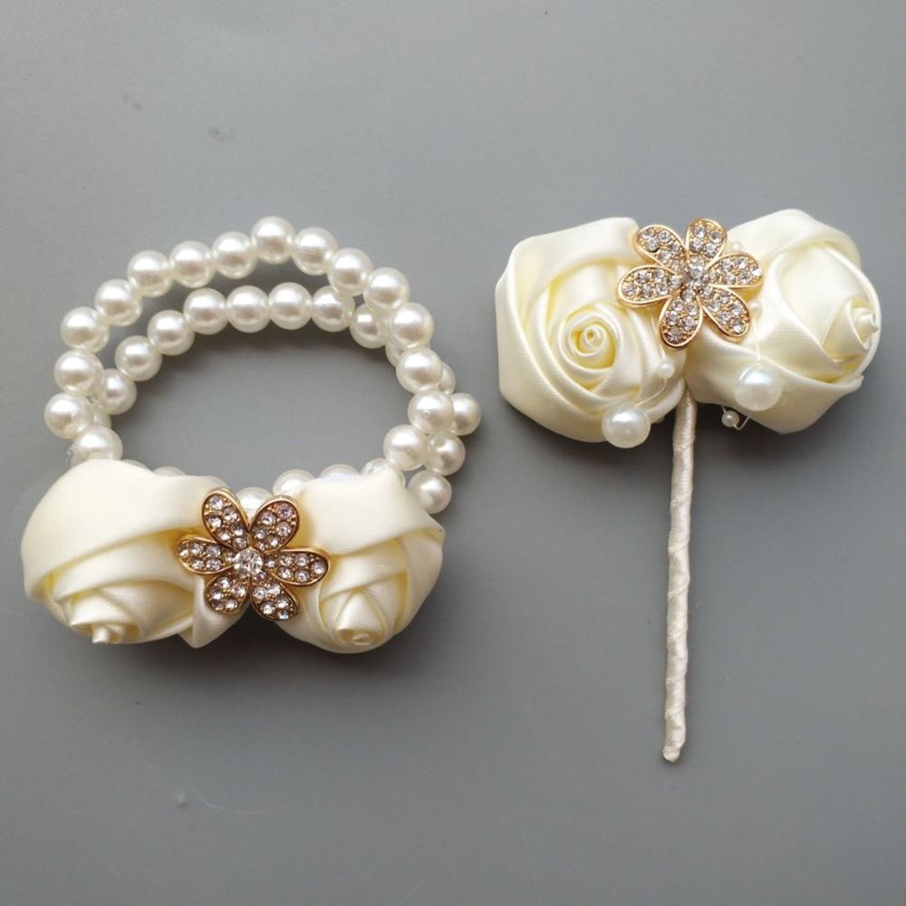 (Wrist flower and boutonniere) Ivory Simulation Rose Ivory Wedding Bridal Bouquet Golden Diamond Wedding Bouquet Set  W242-T